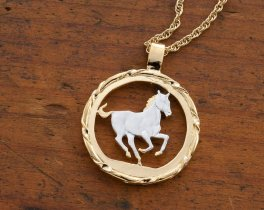 "Horse Pendant and Necklace, Liberia 5 Dollar Year Of The Horse Coin Hand Cut, 14 Karat Gold and Rhodium Plated,1 1/8"" in Diameter ( # 716 )"