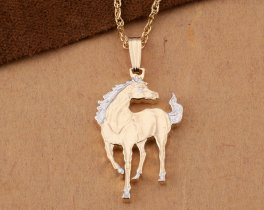 "Horse Pendant and Necklace, Macao Horse Coin Hand Cut, 14 Karat Gold and Rhodium plated, 7/8"" in Diameter, ( # 645B )"