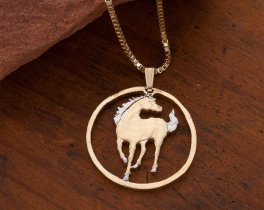"Horse Pendant and Necklace, Macao Year Of The Horse Coin Hand Cut, 14 Karat and Rhodium Plated, 1"" in Diameter, ( # 645 )"