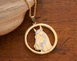 "Horse Pendant and Necklace, Private Mint Horse Medallion Hand Cut, 14 Karat Gold and Rhodium Plated, 1"" in Diameter, ( # 694 )"