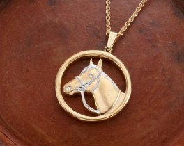 "Horse Pendant and Necklace, Private Mint Horse Medallion Hand Pierced, 14 Karat Gold and Rhodium plated, 1"" in Diameter, ( # 693 )"
