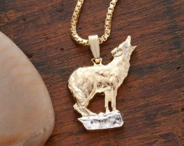 Howling Wolf Pendant and Necklace, Private Mint Wolf Medallion Hand Cut, 14 Karat Gold and Rhodium plated ( # 604 )