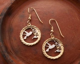 """Hummingbird Earrings, Trinidad One Cent Coin Hand Cut, 14 Karat Gold and Rhodium plated, 14 K G/F Wires, 3/4"""" in Diameter, ( # 596E )"""