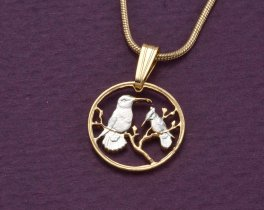 "Hummingbird Pendant and Necklace, British Virgin Islands 1 Cent Coin Hand Cut, 14 Karat Gold and Rhodium Plated, 1/2"" in Diameter, ( # 43 )"