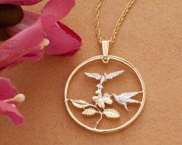 "Hummingbird Pendant, Hand Cut Carribean Hummingbird Coin, 14 Karat Gold and Rhodium Plated, 1 1/8"" in Diameter, ( # 551 )"