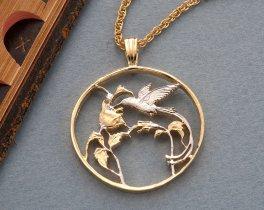 Hummingbird Pendant & Necklace, Jamacian Steamer Tail Hummingbird 25 cents Coin Hand Cut,  14K Gold and Rhodium Plated ( # 209 )