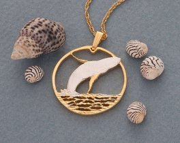 "Humpback Whale Pendant and Necklace Jewelry, Bermuda Humpback Whale Coin hand Cut, 14K and Rhodium Plated, 1 "" in Diameter, ( # 643 )"