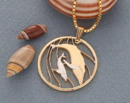 """Humpback Whale Pendant and Necklace Jewelry, Tonga Whale Coin Hand Cut, 14 Karat Gold and Rhodium Plated, 1 1/8 """" in Diameter, ( # 383 )"""