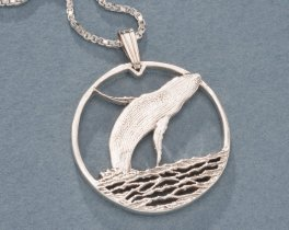 "Humpback Whale Pendant, Hand Cut Bermuda Two Dollar Humpback Whale Coin, Sterling Silver, 1"" in Diameter, ( # 643S )"