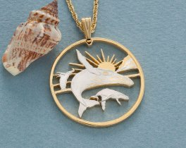 """Humpback Whale Pendant, Hand Cut Humpback Whale Coin from Maui, 14 Karat Gold and Rhodium Plated, 1 1/2"""" in Diameter, ( # 937 )"""