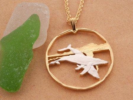 "Humpback Whale Pendant, Humpback Whale Jewelry, Sea Life Jewelry, Hand cut Humpback Coin Jewelry, 1 1/4"" in diameter ( # 393D )"
