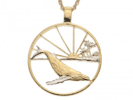 """Humpback Whale Pendant nad Necklace, Maui Whale Trade Dollar Hand Cut, 14 Karat Gold and Rhodium Plated, 1 5/8"""" in Diameter, ( # 860 )"""
