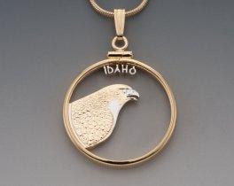 """Idaho State Quarter Pendant, Hand Cut United States Idaho State Quarter, 14 Karat Gold and RHodium Plated, 1"""" in Diameter, ( # 2043 )"""