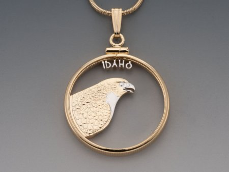 "Idaho State Quarter Pendant, Hand Cut United States Idaho State Quarter, 14 Karat Gold and RHodium Plated, 1"" in Diameter, ( # 2043 )"