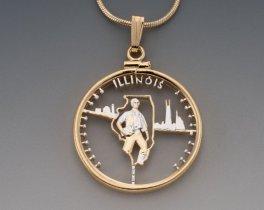 """Illinois State Quarter Pendant, Hand Cut United States Illinois Quarter, 14 Karat Gold and Rhodium Plated, 1"""" in Diameter, ( # 2021 )"""