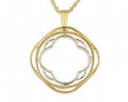 """India Pendant and Necklace, India Two Anna Coin Hand Cut, 14 Karat Gold and Rhodium Plated, 7/8"""" in Diameter, ( # 448 )"""