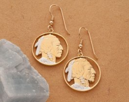 """Indian Head Nickel Earrings, United States Indian Head Nickel Hand Cut, 14K Gold & rhodium plated,14 K G/F Wires 7/8"""" in Diameter, ( #309E )"""
