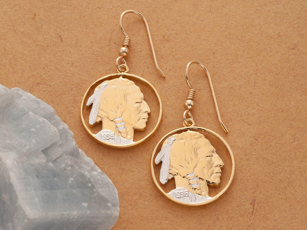 Uniquely Hand done Indian Head nickel\u00a0- Beautifully Hand Cut out Old U.S Gold on Silver coin Necklaces women men girls friend boys teen