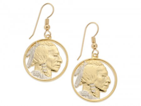 "Indian Head Nickel Earrings, United States Indian Head Nickel Hand Cut, 14K Gold & rhodium plated,14 K G/F Wires 7/8"" in Diameter, ( #309E )"