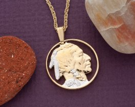 "Indian Head Pendant and Necklace, United States 5 Cents Coin Hand Cut, 14 Karat Gold and Rhodium plated, 7/8"" in Diameter, ( # 309 )"