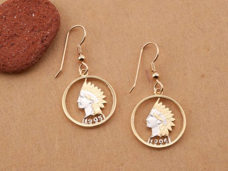 """Indian Head Penny Earrings, United States Indian Head One Cent Hand Cut, 14 Karat Gold and Rhodium Plated, 3/4"""" in Diameter, ( # 307E )"""