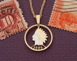 """Indian Head Penny Pendant and Necklace, United States One Cent Hand Cut, 14 Karat Gold and Rhodium plated, 3/4"""" in Diameter, ( # 307 )"""