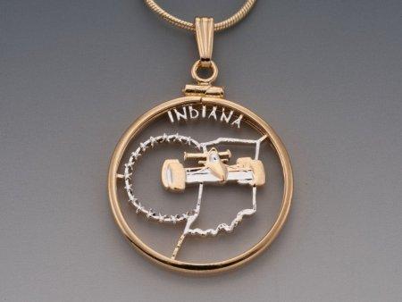 "Indiana State Quarter Pendant, Hand Cut United States Indiana Quarter, 14 Karat Gold and Rhodium Plated, 1"" in Diameter, ( # 2019 )"