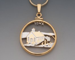 "Iowa State Quarter Pendant, Hand Cut United States Iowa State Quarter, 14 Karat Gold and Rhodium PLated, 1"" in Diameter, ( # 2029 )"