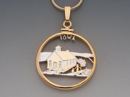 "Iowa State Quarter Pendant, Hand Cut United States Iowa State Quarter, 14 Karat Gold and Rhodium PLated, 1"" in Diameter, ( # 2029 )"