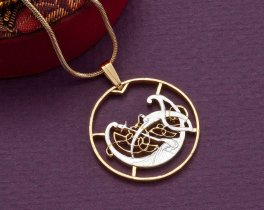"""Ireland Celtic Dragon Pendant and Necklace, Ireland Two Pence Coin hand Cut, 14 Karat Gold and Rhodium Plated, 1 1/8"""" in Diameter, ( # 174 )"""