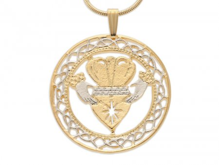 "Irish Claddagh Pendant and Necklace, Ireland Claddagh Medallion Hand Cut, 14 Karat Gold and Rhodium Plated, 1 1/8"" in Diameter, ( # 835 )"