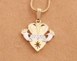 "Irish Claddagh Pendant and Necklace, Ireland Claddagh Medallion Hand Cut, 14 Karat Gold and Rhodium Plated, 7/8"" in Diameter, ( # 835C )"