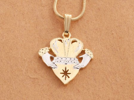 "Irish Claddagh Pendant and Necklace, Ireland Claddagh Medallion Hand Cut, 14 Karat Gold and Rhodium Plated, 7/8"" in Diameter, ( # 835C )"