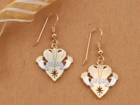 """Irish Claddah Earrings, hand Cut Irish Claddah Medallions, Irish Jewelry, Irish Claddah Jewelry, 7/8"""" in Diameter, ( # 835CE )"""