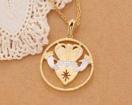 "Irish Claddah Pendant and Necklace, Hand Cut Irish Claddah Medallion, Irish Jewelry, Irish Gifts, 7/8"" in Diameter, ( # 835B )"