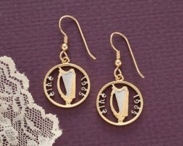 Irish Harp Coin Earrings, Ireland 3 Pence Coin Hand Cut, 14 Karat Gold and Rhodium plated, 14K Gold Filled Ear Wires, ( # 159E )