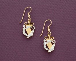 """Irish Harp coin Earrings, Ireland I/2 penny Coins Hand cut,14K Gold and rhodium plated, 3/4"""" in diameter, 14K Gold filled Wires, ( # 163E )"""