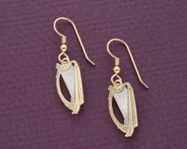"""Irish Harp Coin Earrings, Ireland One Shilling Coins hand Cut, 14 Karat Gold and Rhodium plated,14 K G/F Wires 3/4"""" in Diameter, ( # 171BE )"""