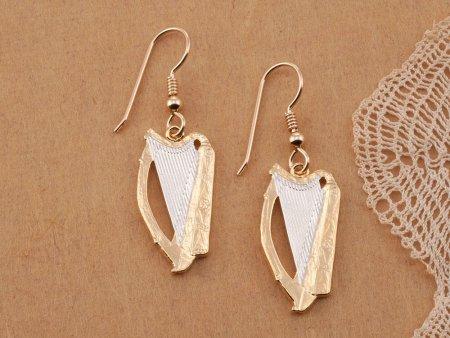"Irish Harp Earrings, Hand Cut Ireland One Half Crown Coins, Irish Jewelry, Irish Earrings, Ireland Gift Ideas, 1"" in Diameterm ( # 418BE )"