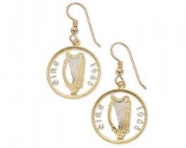 "Irish Harp Earrings, Ireland Six Pence Coin Hand Cut, 14 Karat Gold and Rhodium plated, 14 K G/F Ear Wires, 3/4 "" in Diameter, ( # 828E )"