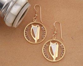 Irish Harp Earrings, Irish Coin Jewelry, Harp Jewelry, Gallic Earrings, Gallic Jewelry, Harp Earrings, Irish Earrings,  Earrings, ( # 175E )