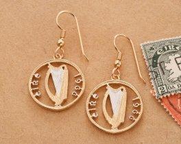 Irish Harp Earrings, Irish Harp Jewelry, Irish Earrings, Irish Jewelry, Irish Coin Jewelry, Harp Earrings, Jewelry For Woman, ( # 828E )