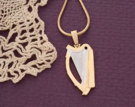 "Irish Harp Pendant and Necklace, Ireland One Half Crown Harp Coin Hand Cut, 14 Karat Gold and Rhodium plated, 1"" in Diameter, ( # 418B )"