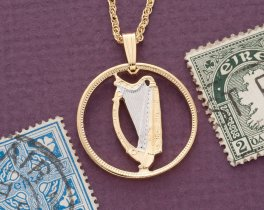 "Irish Harp Pendant and Necklace, Ireland three Pence Harp Coin hand Cut, 14 Karat Gold and Rhodium PLated, 3/4"" in Diameter, ( # 164 )"