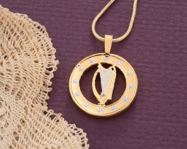 Irish Harp Pendant, Irish Coin Jewelry, Ireland Gifts, Irish Harp Necklace, Womans Jewelry, Harp Coin Jewelry, Cut Coin Jewelry, ( # 751 )