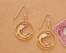 """Irish Peacock Earrings, hand Cut One Pence Ireland Coin Earrings, Celtic Peacock Coin Earrings, 3/4"""" in Diameter, ( # 168E )"""