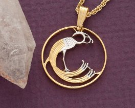 """Irish Peacock Pendant and Necklace, Ireland One Pence Peacock coin hand Cut, 14 Karat Gold and Rhodium Plated, 3/4"""" in Diameter, ( # 168 )"""