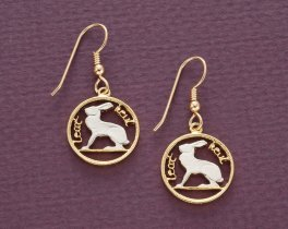 "Irish Rabbit Coin Earrings, Ireland Three Pence Coin Hand Cut,14 Karat Gold and Rhodium plated, 14 K G/F Wires, 5/8"" in Diameter ( #165E )"