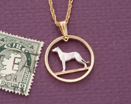 "Irish Wolfhound Pendant and Necklace, Ireland Six Pence Coin hand Cut, 14 Karat Gold and Rhodium Plated, 3/4"" in Diameter ( # 160 )"