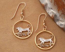 Israeli Lion Earrings, Lion Earrings, Israel Coin Jewelry, Hebrew Earrings, Hebrew Jewelry, Lion Of David Earrings, Ethnic Jewelry, (# 190E)